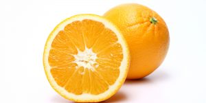 Whole and half orange